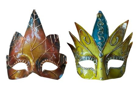 Two Venetian Masks. Isolated on white,