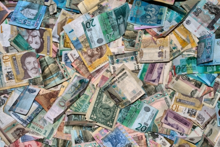 Collection of all over the world paper money. HDRI image Stock Photo