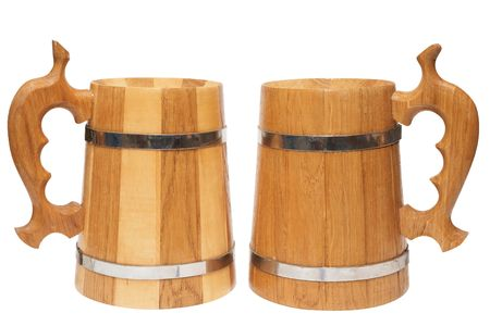wooden beer mugs isolated on white background  Stock Photo - 6839174