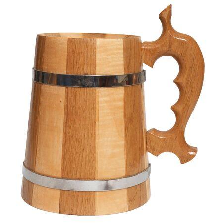 wooden beer mug isolated on white background  photo