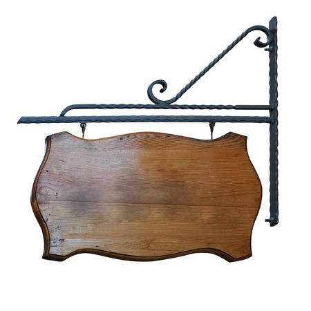 wood products: Cartello di vecchio tipo. Isolated on white,  Archivio Fotografico