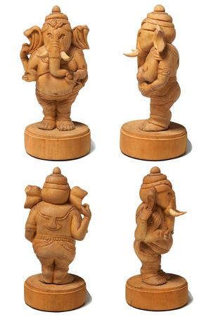 hinduist:  Wooden statue of the hinduist god Ganesha on a white background