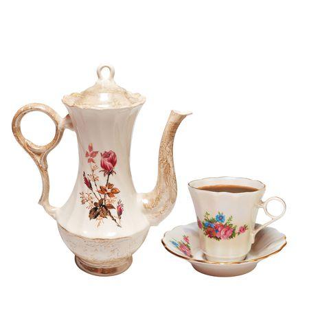 chinese tea pot: tetera alta y la Copa. Aislados en blanco,  Foto de archivo