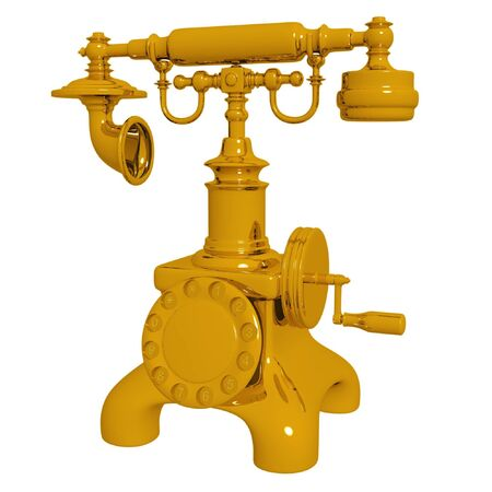 Retro gold telephone. Isolated on white. Stock Photo - 6837233