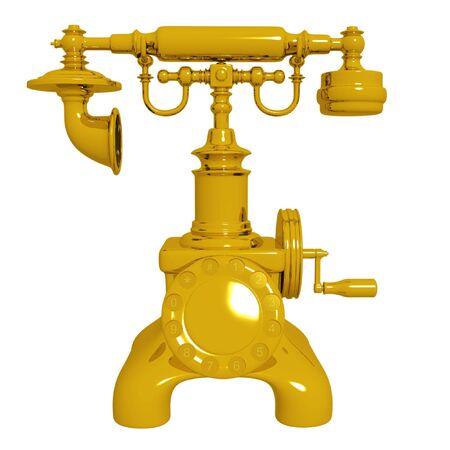 Retro gold telephone. Isolated on white. Stock Photo - 6836910