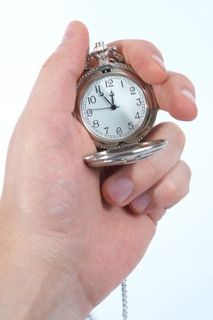 clock in hand. Isolated on white Stock Photo - 6837112