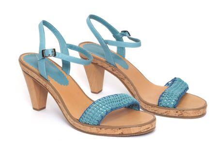 corkwood: Blue shoe. Isolated on white