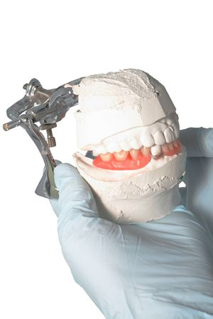 articulator: Dental Lab Articulator with dental prosthesis Stock Photo