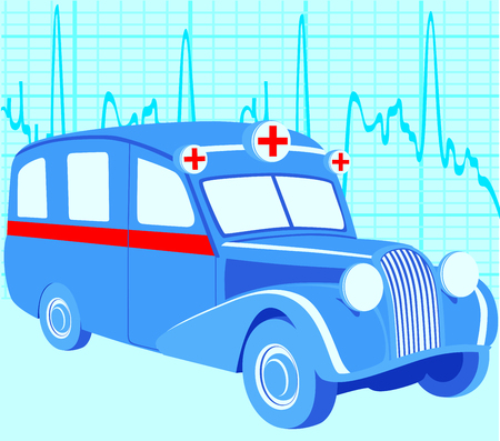 Old ambulance car Vector