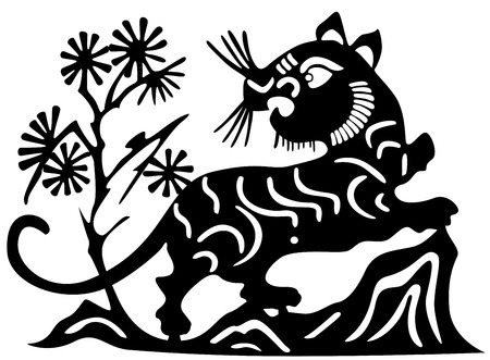 mountain lions: Ancient Japanese tattoo of lion Illustration