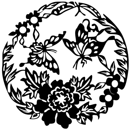 Ancient Japanese tattoo, butterflies and flowers. Vector