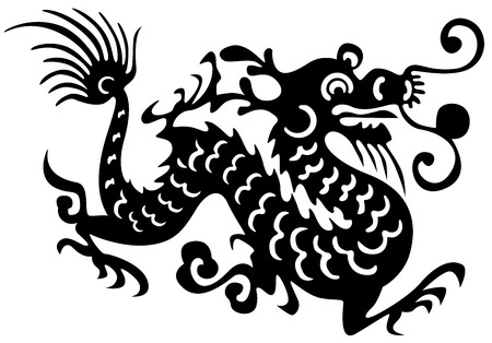 dragon fish: Tattoo of dragons and birds. Ancient China