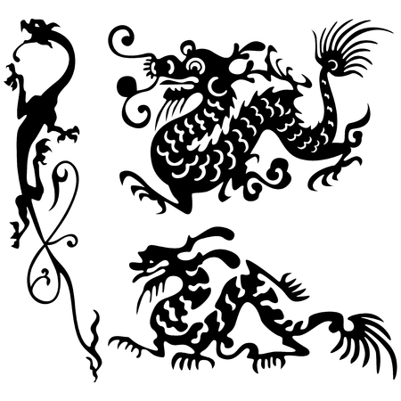 Tattoo of dragons. Vector