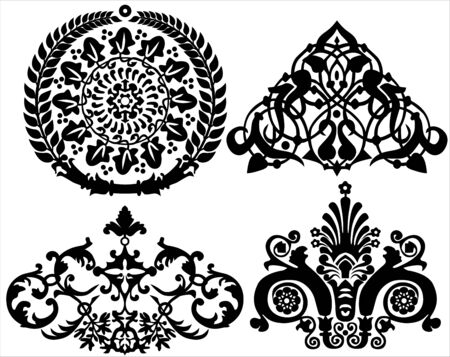 vignette: set of floral elements