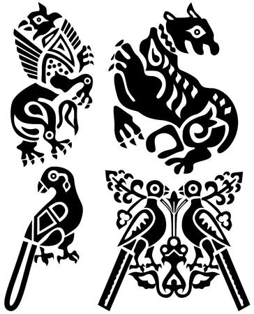 Tatouage des oiseaux et des animaux mythiques. La Chine antique.  Banque d'images - 6839448