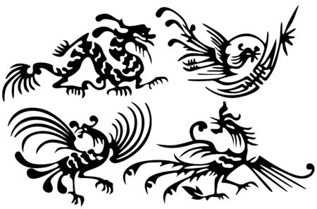 Tattoo of dragons and birds. Ancient China Vector