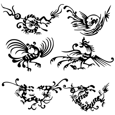 fortune graphics: Tattoo of dragons and birds. Illustration