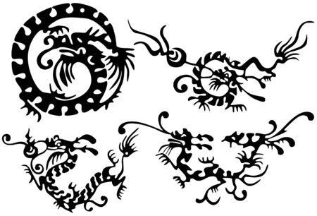 Tattoo of dragons and birds. Ancient China Stock Vector - 6839445