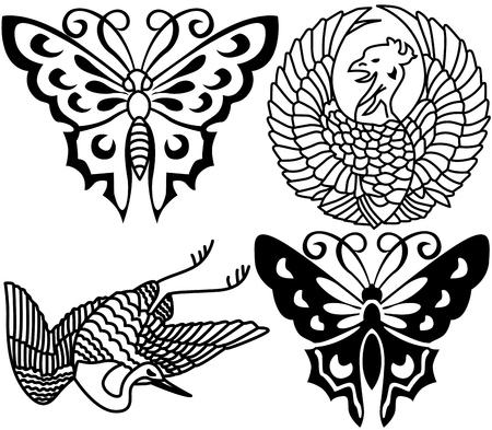 Ancient Japanese tattoo, birds, butterflies. Vector
