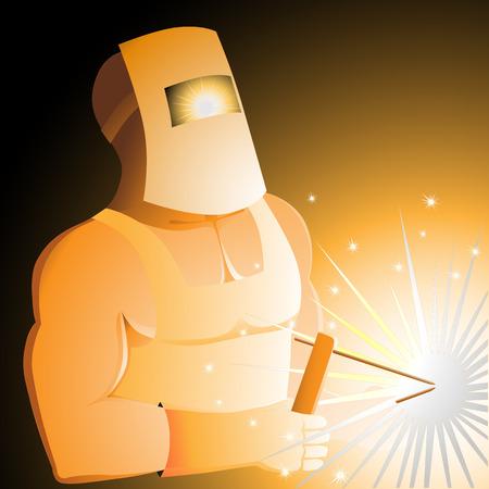steel workers: The brawny welder behind work Illustration