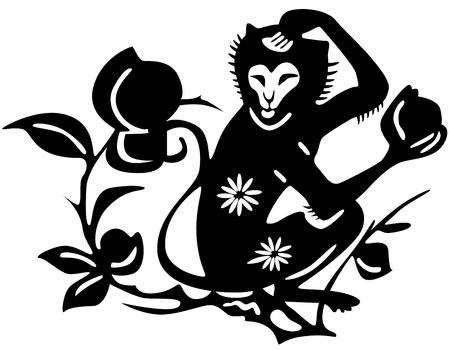 agression: Antique tattoo japonais du singe.