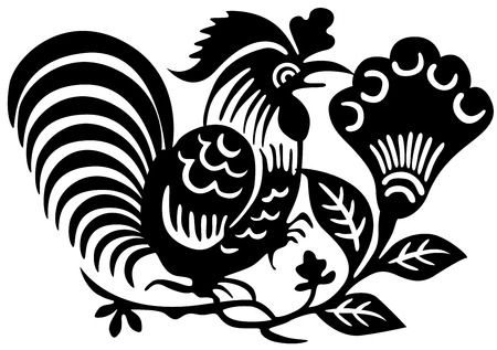 Ancient Japanese tattoo of cock. Vector