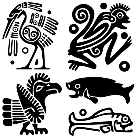 Ancient American tattoos Vector