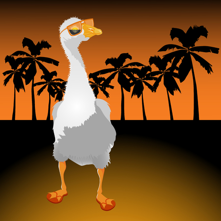 Goose on rest, in sun glasses reflecting the coming sun Vector