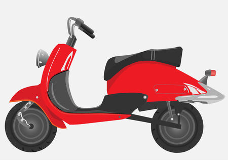 Retro the scooter, red with the chromeplated elements Illustration