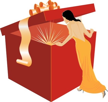 The girl looks in the big box with gifts Vector