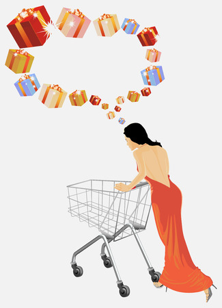 The woman plans purchases. Insert your text. Vector
