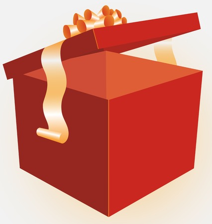 Box for gifts, with possibility to insert your gifts, the goods, purchases. Ilustracja