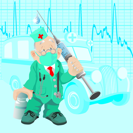 The old doctor with a medicine and a syringe, against old ambulance car Vector