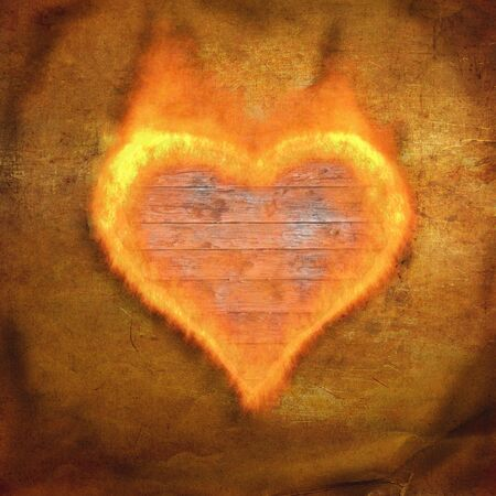 ancient torn up background with flame form heart photo