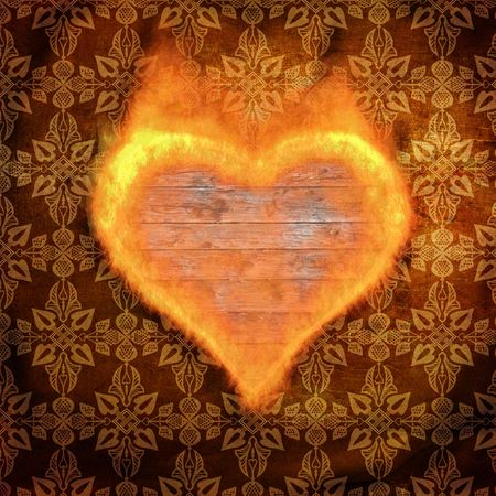 ancient torn up background with flame form heart Stock Photo - 6850340