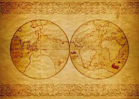 Ancient world map photo