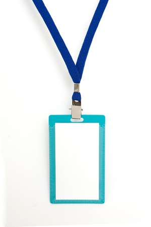 Blank badge with blue neckband on white background Stock Photo