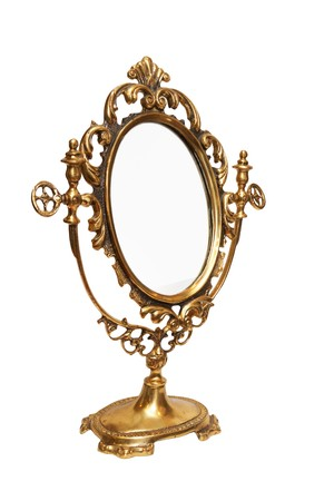 Antique mirror. Isolated on white