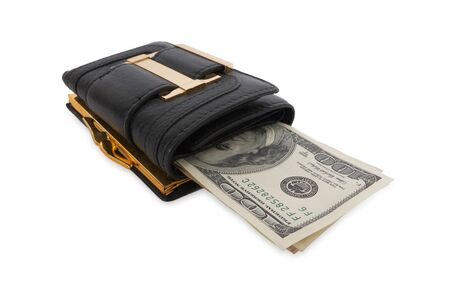 black wallet with the pack of dollars photo
