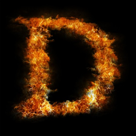 d: Flame in shape of letter D