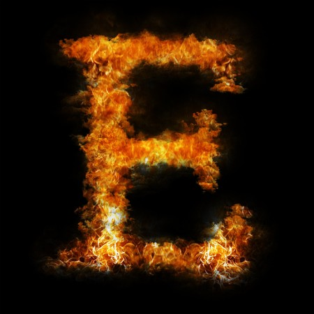 Flame in shape of letter E