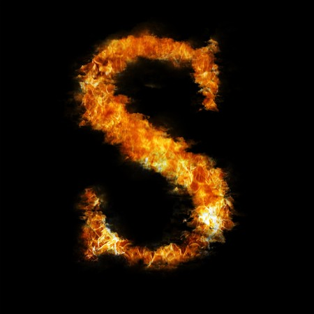 smoky: Flame in shape of letter S Stock Photo