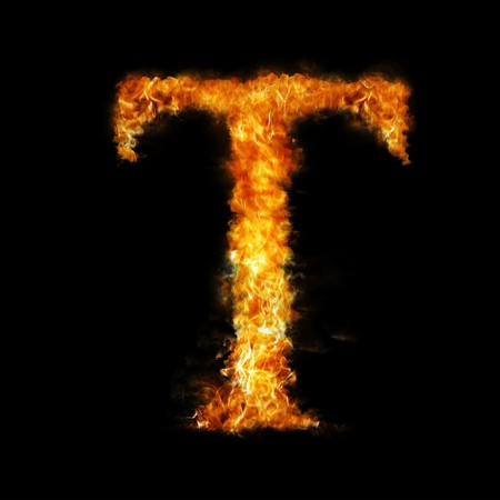 smoky black: Flame in shape of letter T