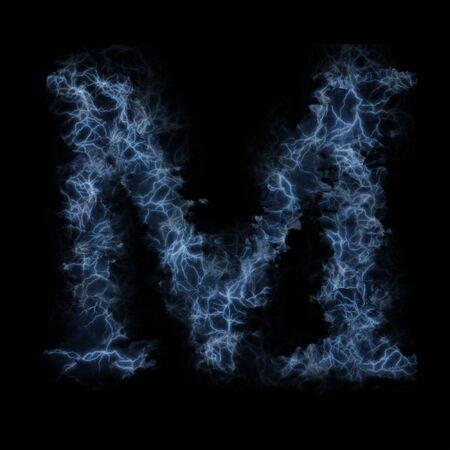 Lightning in shape of the letter M photo