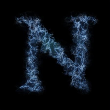 Lightning in shape of the letter N photo