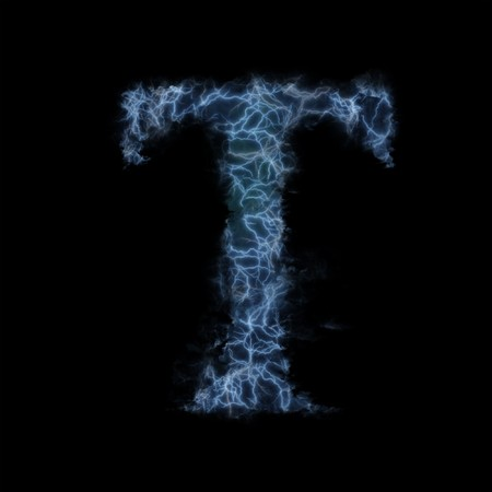 3d lightning: Lightning in shape of the letter T