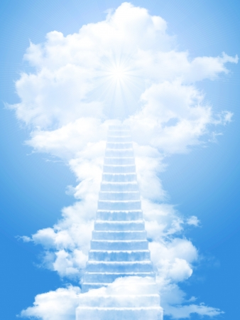 wooden stairs: Ladder in the sky