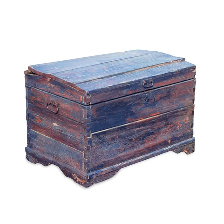 Antique wooden trunk. Isolated on white photo