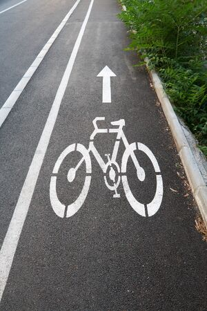 Bicycle road sign painted on the pavement Stock Photo - 7915466