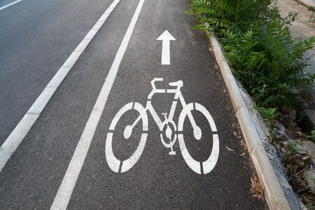 Bicycle road sign painted on the pavement Stock Photo - 7915465